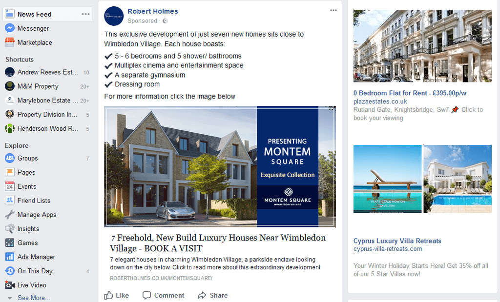 advertising on facebook - Why estate and letting agents should advertise on Facebook